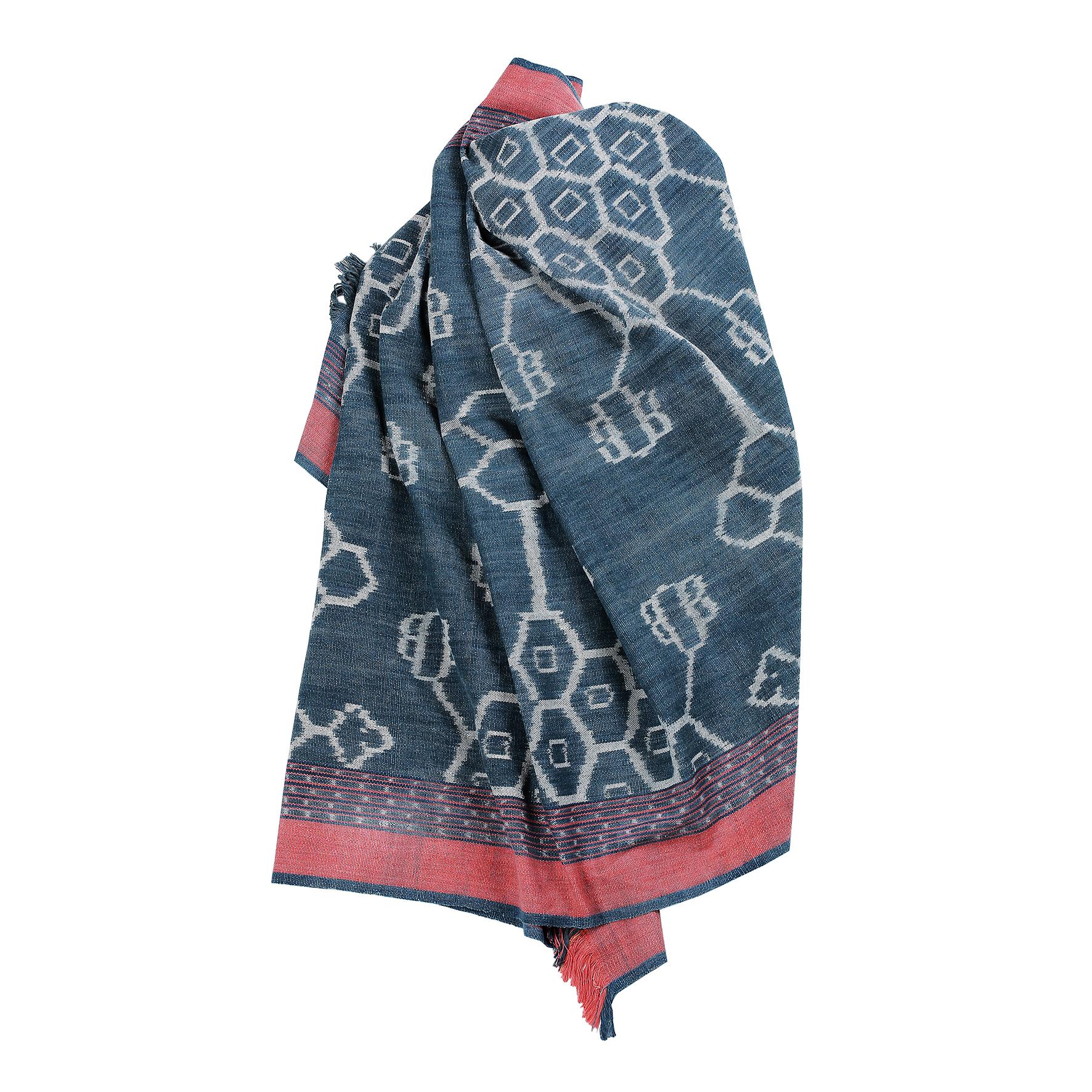 Pareo & Towel, Full Wenda Kapa Wuan, Indigo Blue, Red, Cotton
